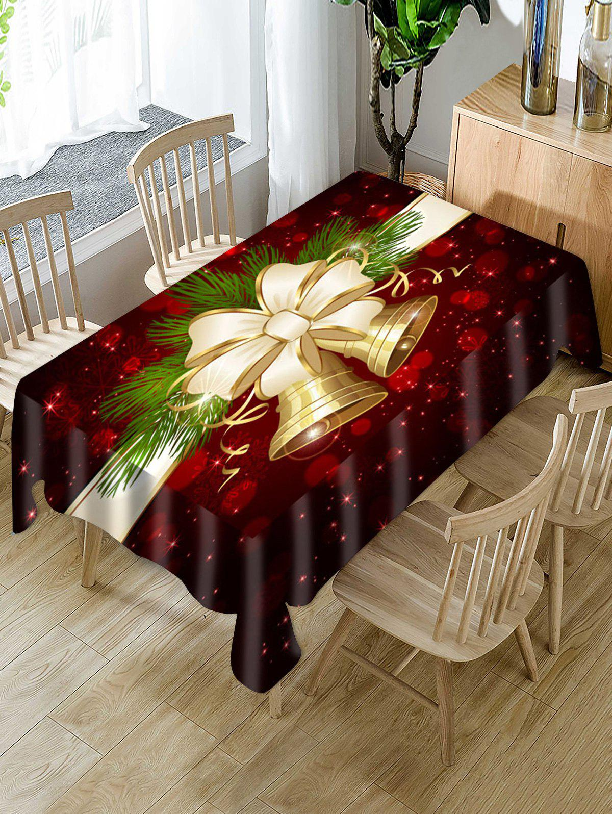 Christmas Bell Bowknot Waterproof Tablecloth - multicolor W60 X L84 INCH