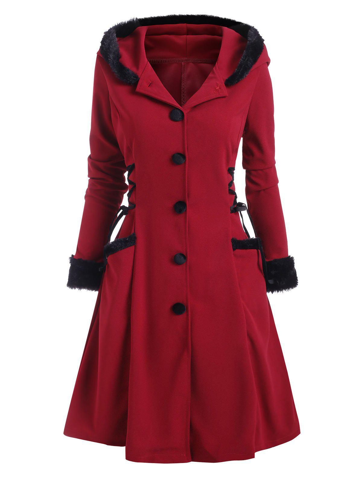 Hooded Faux Fur Insert Lace Up Longline Coat - DEEP RED XL