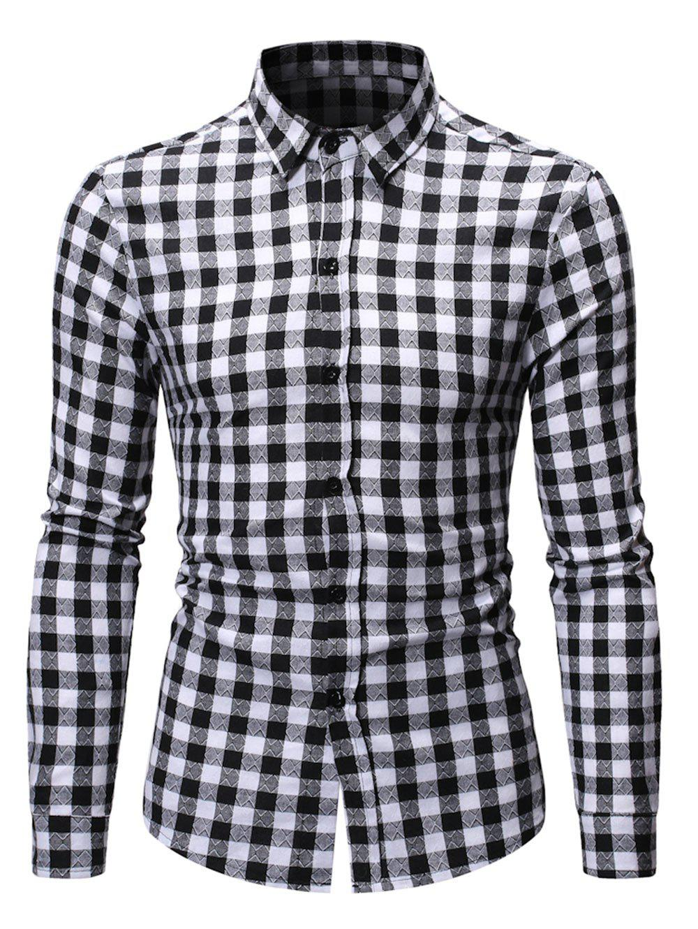 Button Up Plaid Printed Casual Shirt - BLACK L