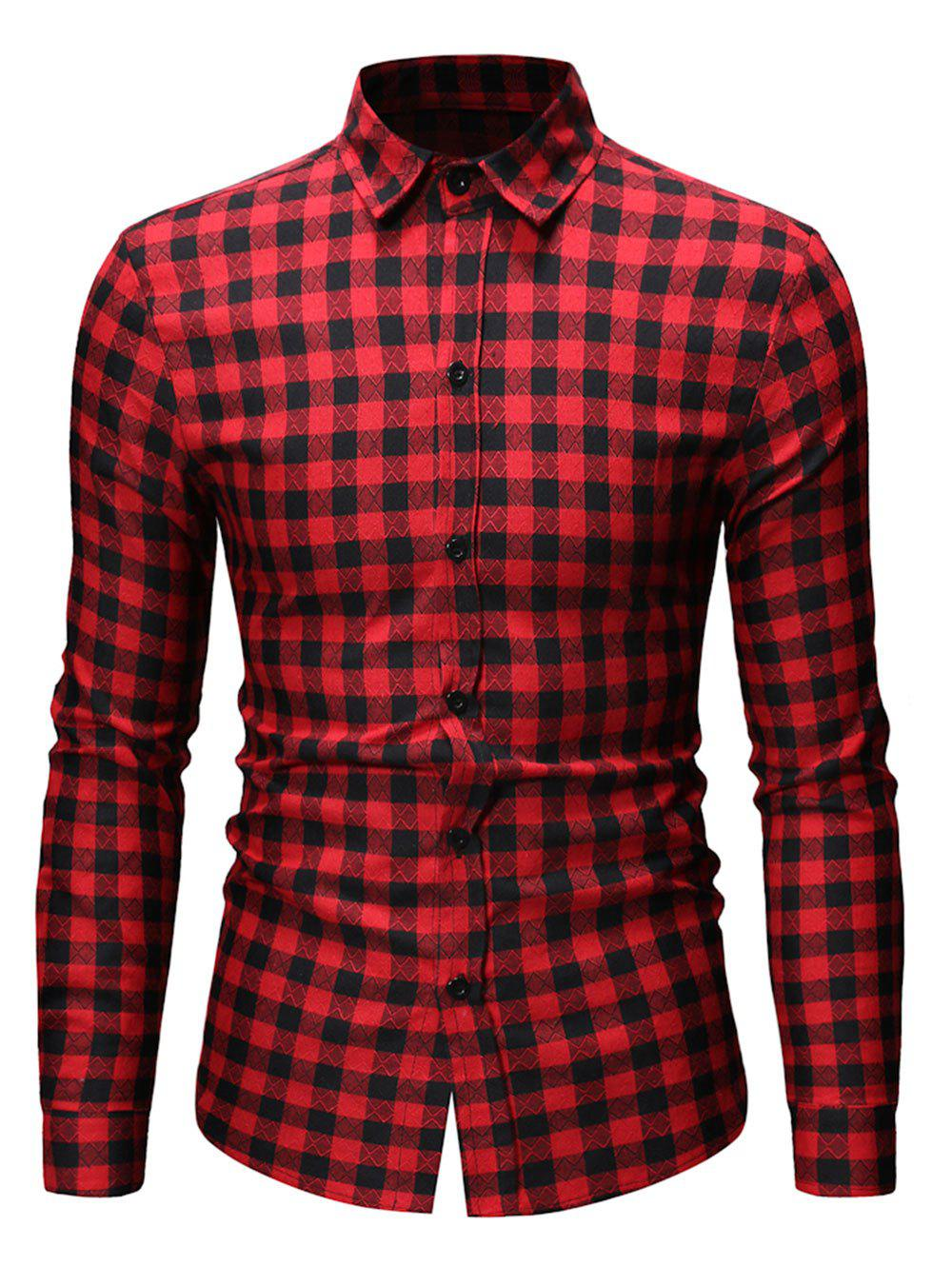 Button Up Plaid Printed Casual Shirt - RED M