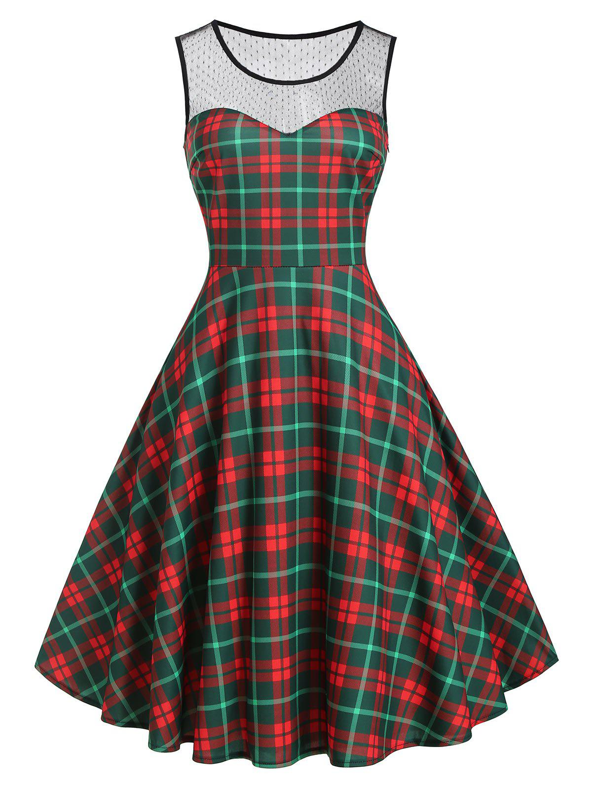 Lace Yoke Plaid Sleeveless Dress - multicolor S