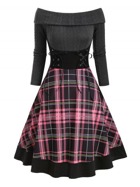 Plaid Off Shoulder Foldover Lace Up Dress