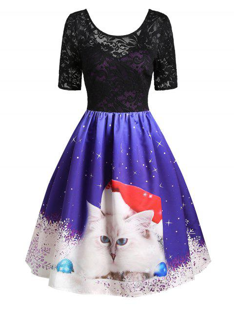 Christmas Cat Snowflake Lace Insert V Back Dress