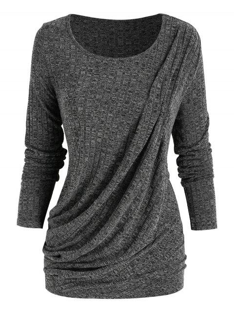 Heathered Draped Front T Shirt