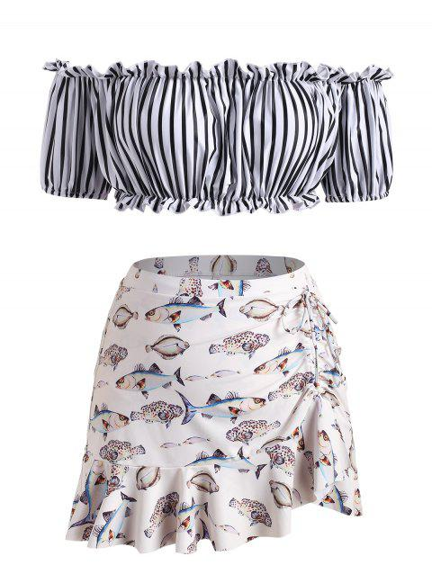 Plus Size Off The Shoulder Frilled Striped Fish Print Three Piece Swimsuit