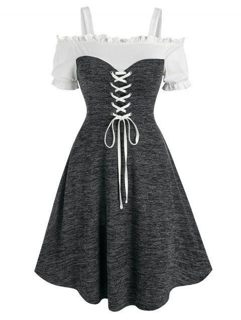 Lace Up Open Shoulder Heathered Dress