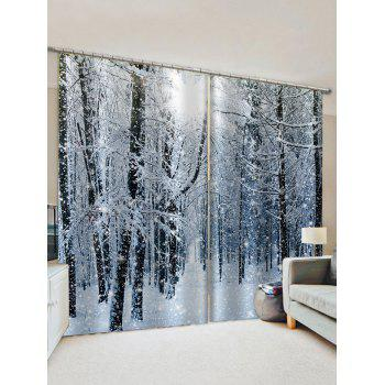 Snow Forest Print Window Curtains
