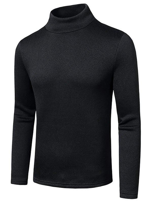 Mock Neck Long Sleeve Fleece T-shirt - BLACK XXL