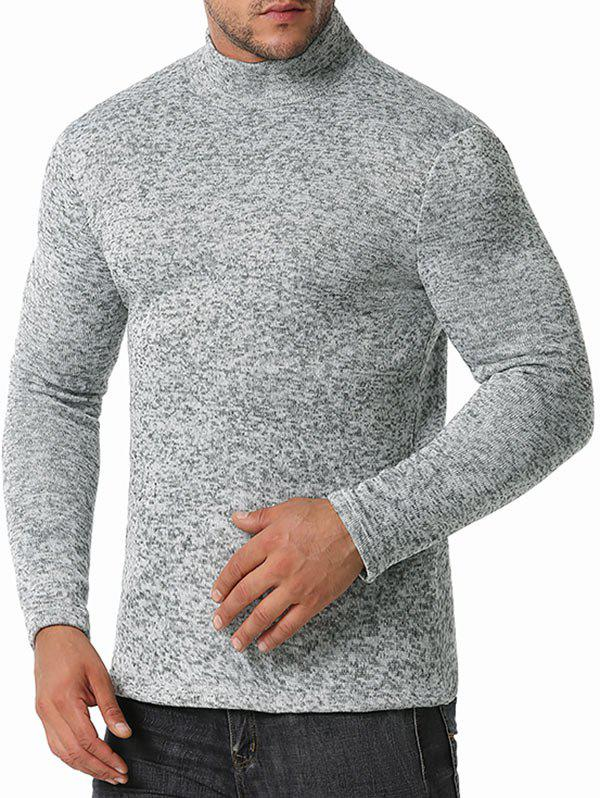 Mock Neck Long Sleeve Fleece T-shirt - LIGHT GRAY L