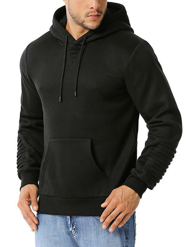 Pintuck Detail Kangaroo Pocket Fleece Hoodie - BLACK M