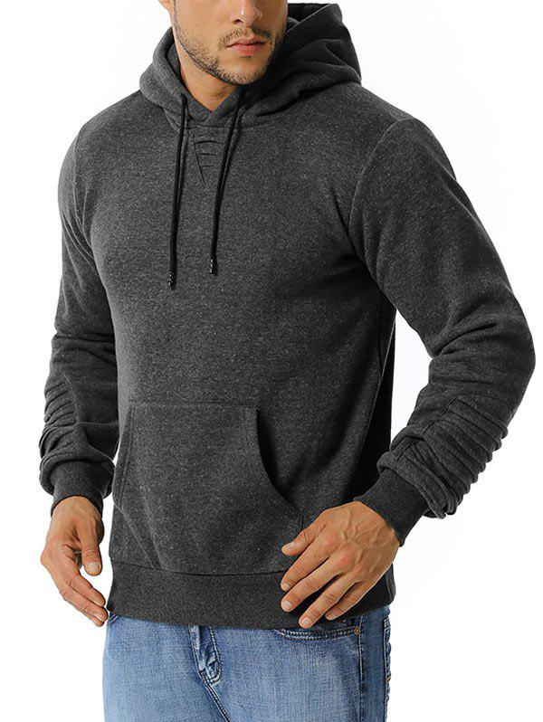 Pintuck Detail Kangaroo Pocket Fleece Hoodie - DARK GRAY M