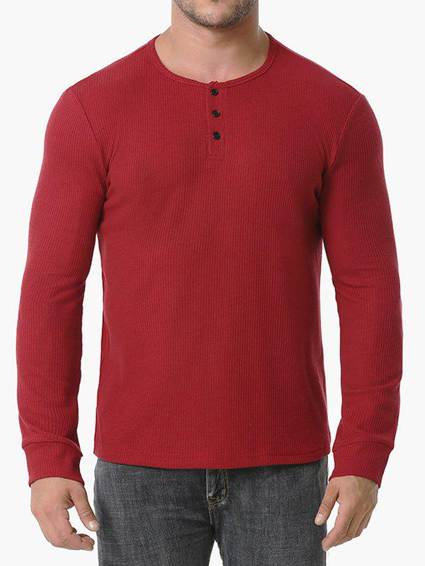 Long Sleeve Ribbed Henley T-shirt - RED WINE S