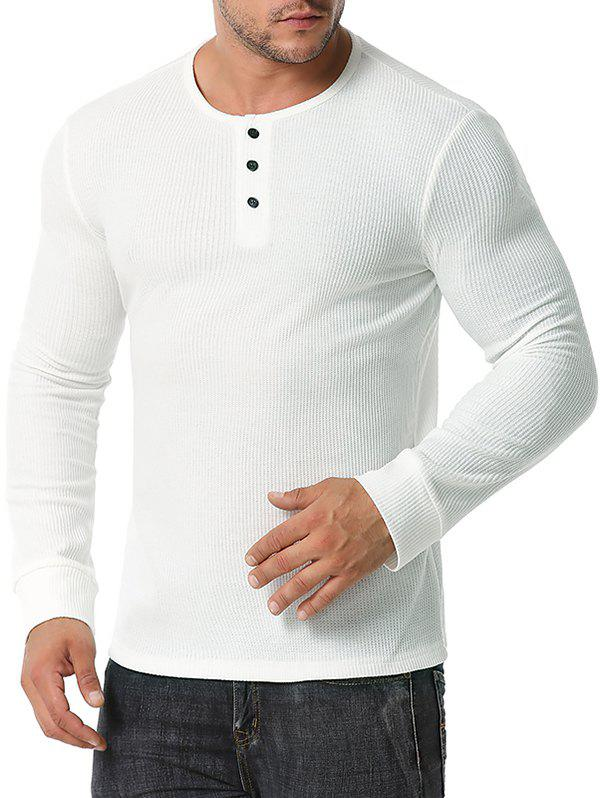 Long Sleeve Ribbed Henley T-shirt - WHITE M