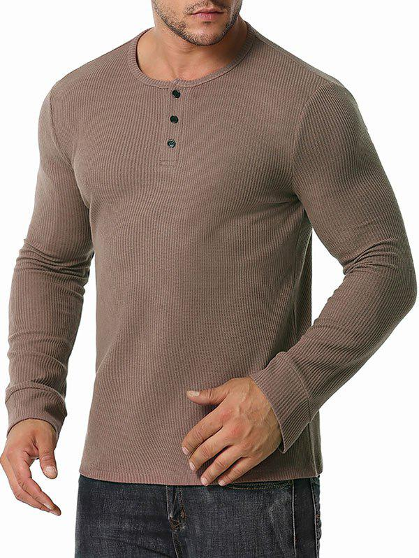Long Sleeve Ribbed Henley T-shirt - COFFEE M
