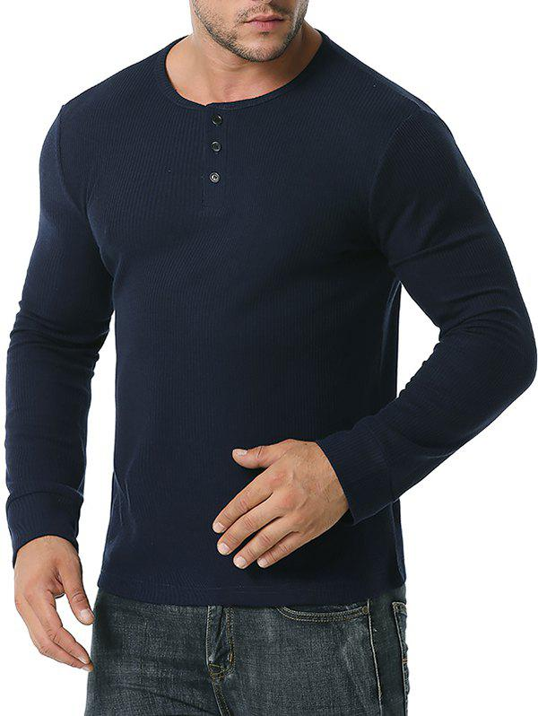 Long Sleeve Ribbed Henley T-shirt - CADETBLUE M