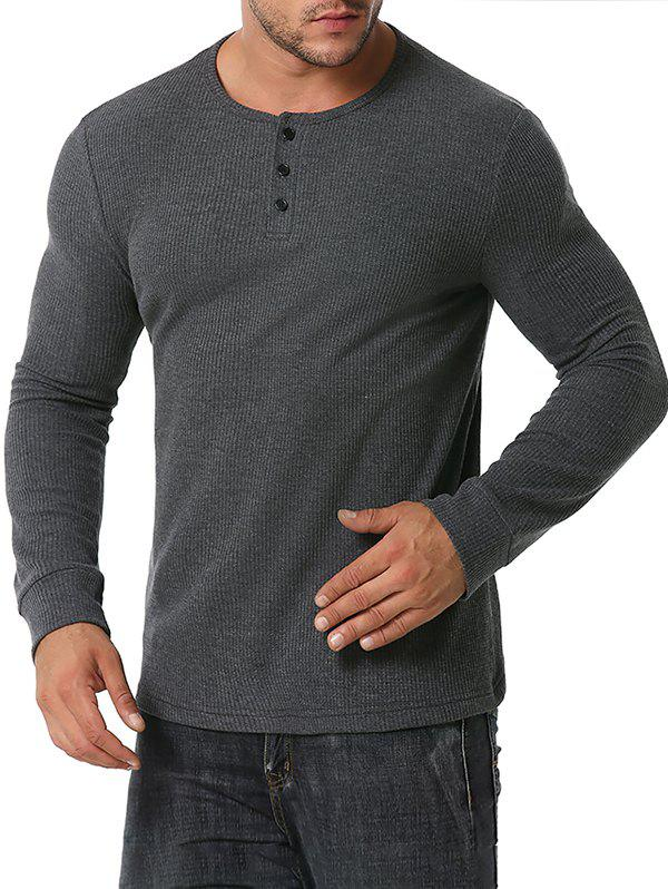 Long Sleeve Ribbed Henley T-shirt - DARK GRAY M