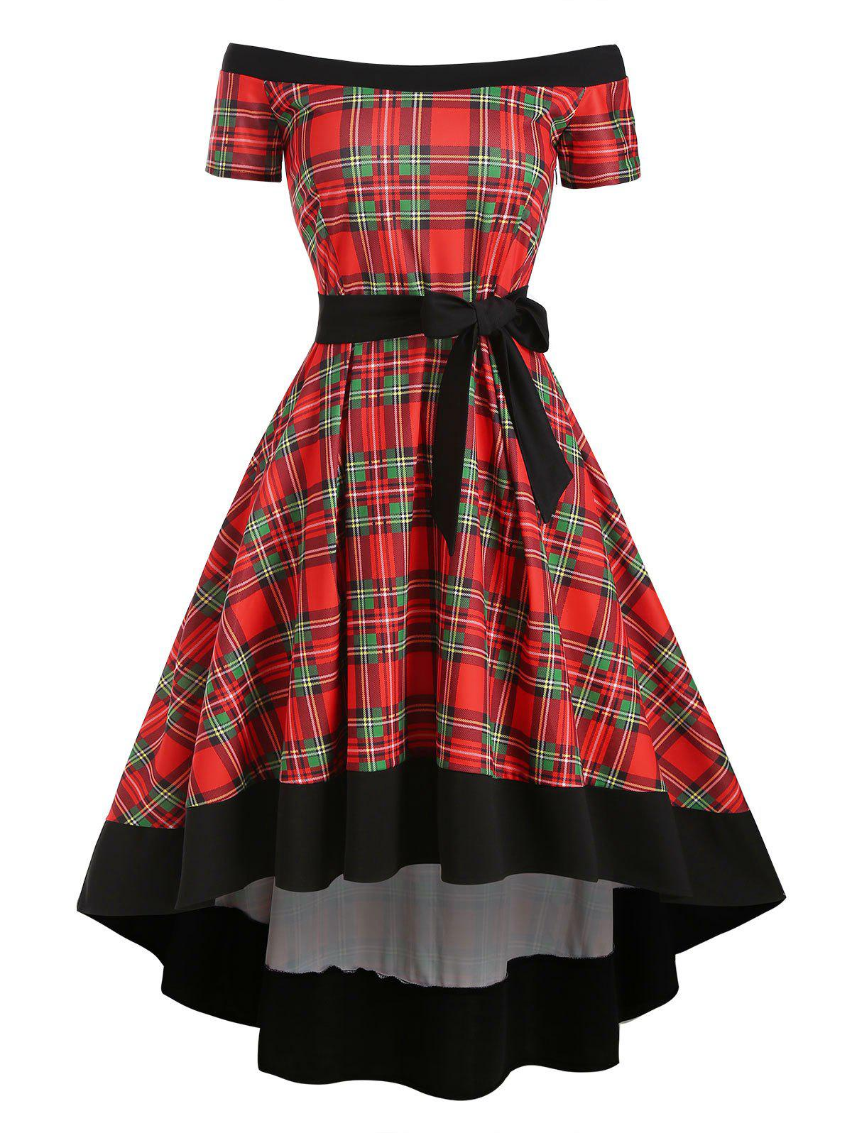 Plaid Off Shoulder High Low Belted Dress - multicolor M