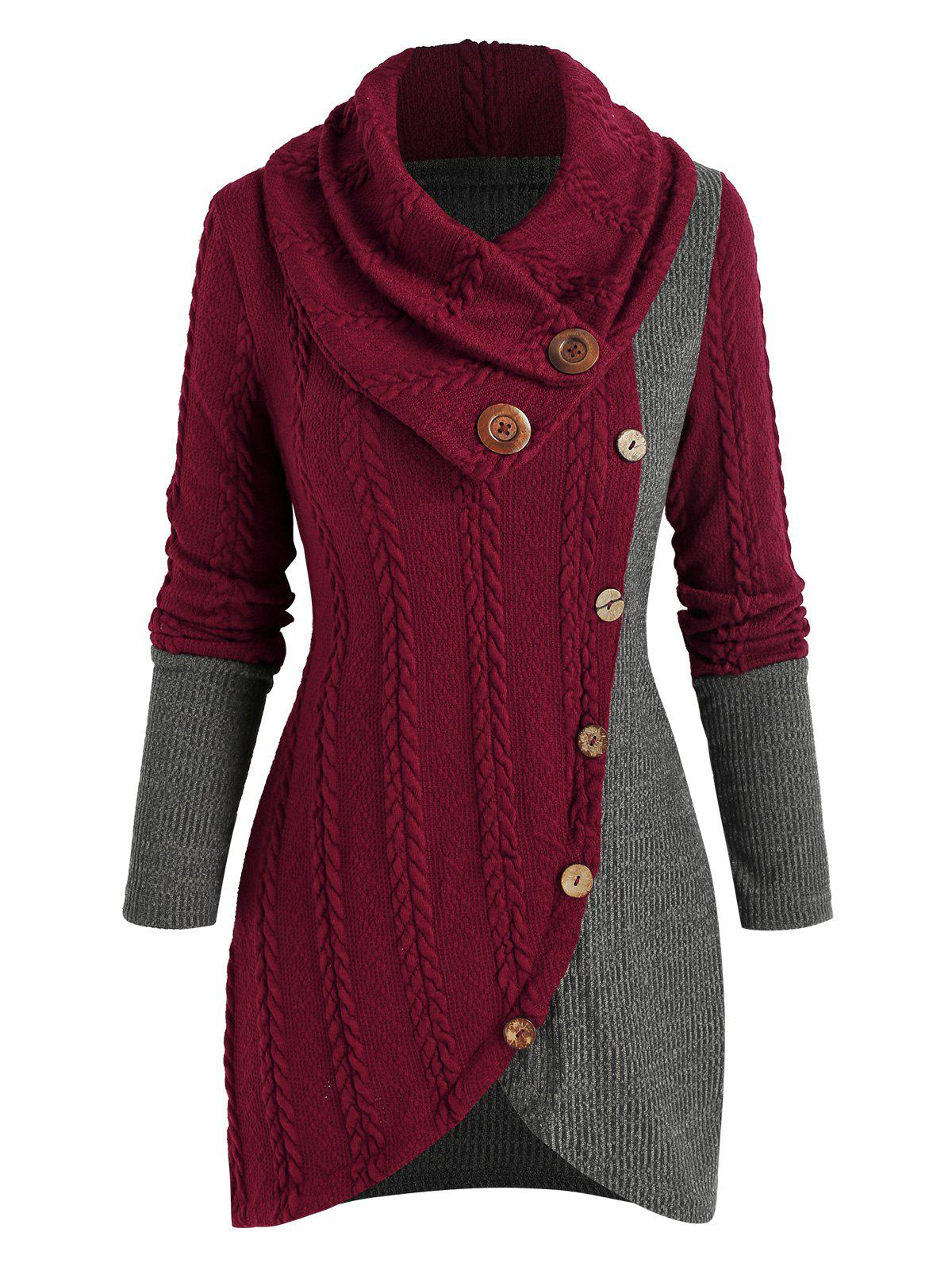 Patchwork Colorblock Detachable Neck Knitwear - RED WINE L