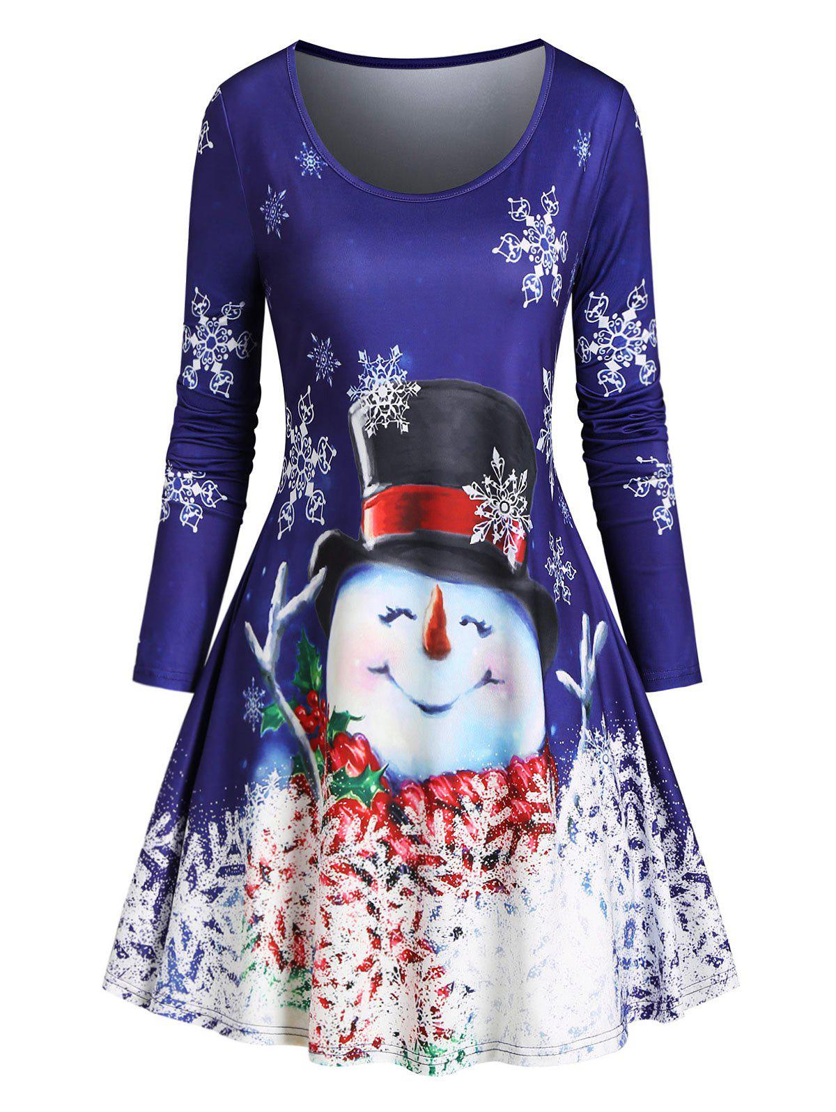 Christmas Snowman Snowflake T Shirt Dress - BLUE XL