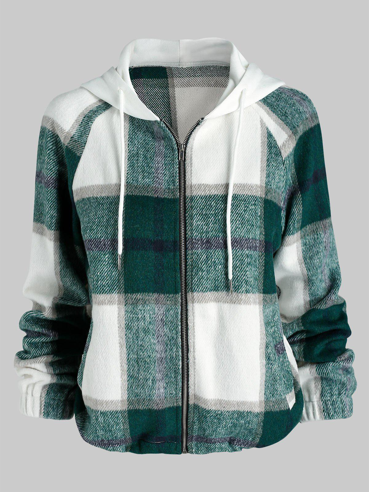 Hooded Plaid Pattern Wool Blend Jacket - multicolor A M