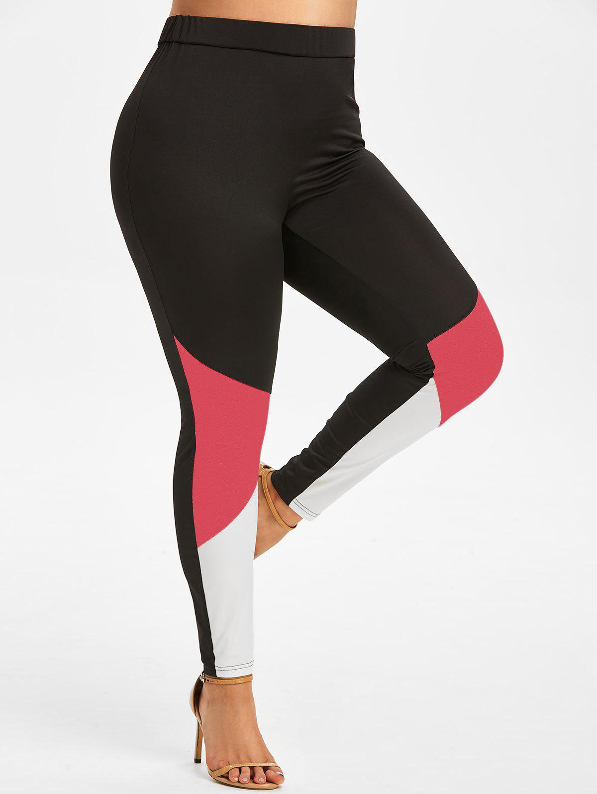 Plus Size High Rise Colorblock Leggings - VALENTINE RED 5X