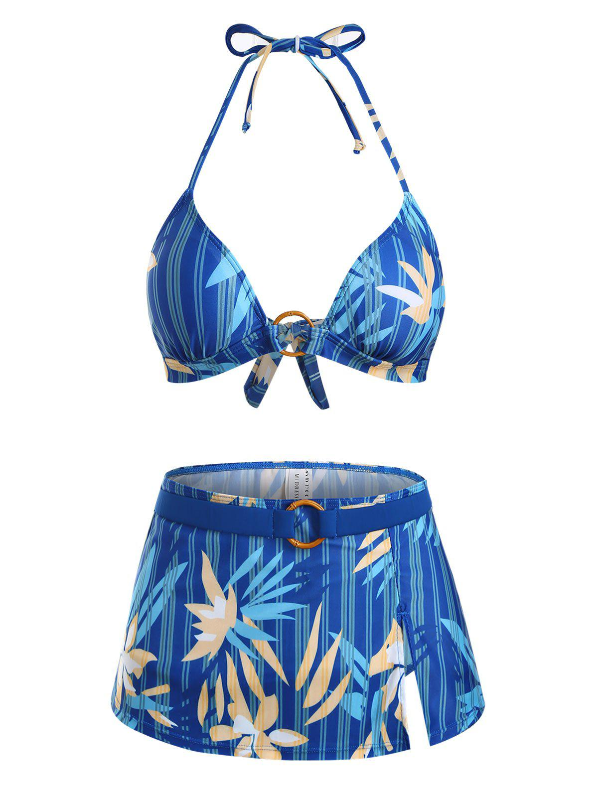 Striped Flower O Ring Tie Side Three Piece Bikini Swimwear - BLUE XL
