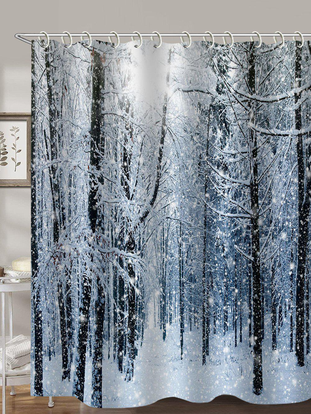 Snow Forest 3D Print Shower Curtain - multicolor W71 X L71 INCH