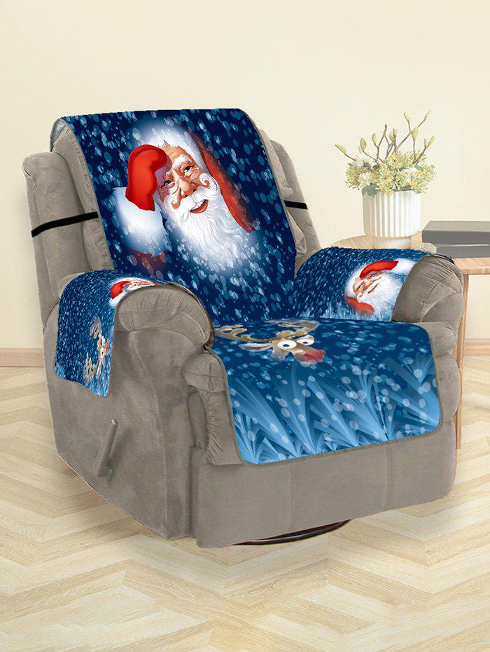Santa Claus Elk Christmas Printing Couch Cover - BLUEBERRY BLUE 180*160CM