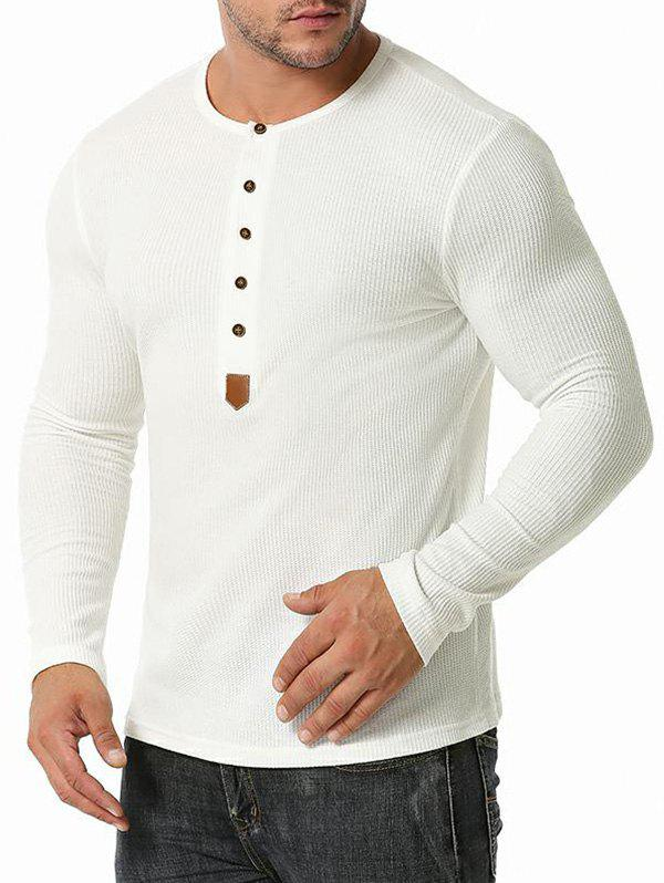 Jacquard Button Round Collar Long Sleeve T-shirt - WHITE XXL
