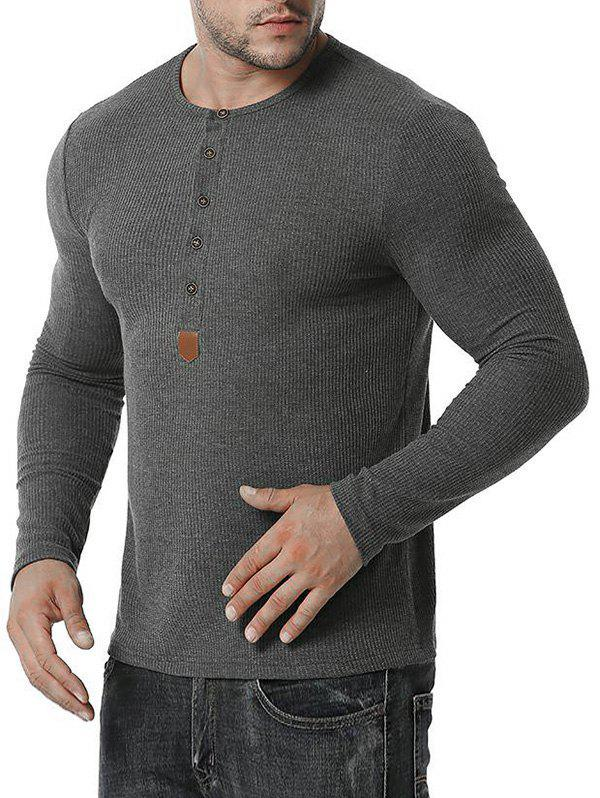 Jacquard Button Round Collar Long Sleeve T-shirt - DARK GRAY XXL