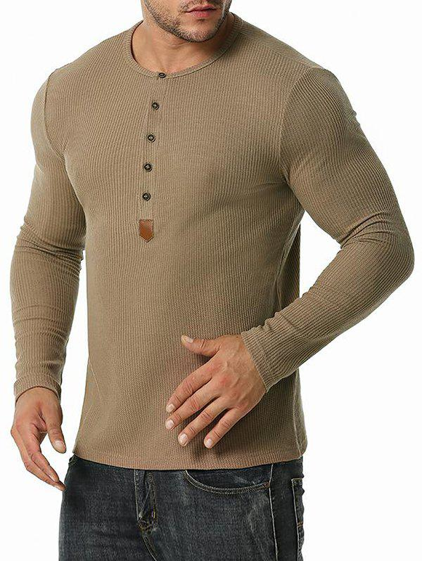 Jacquard Button Round Collar Long Sleeve T-shirt - COFFEE XXL