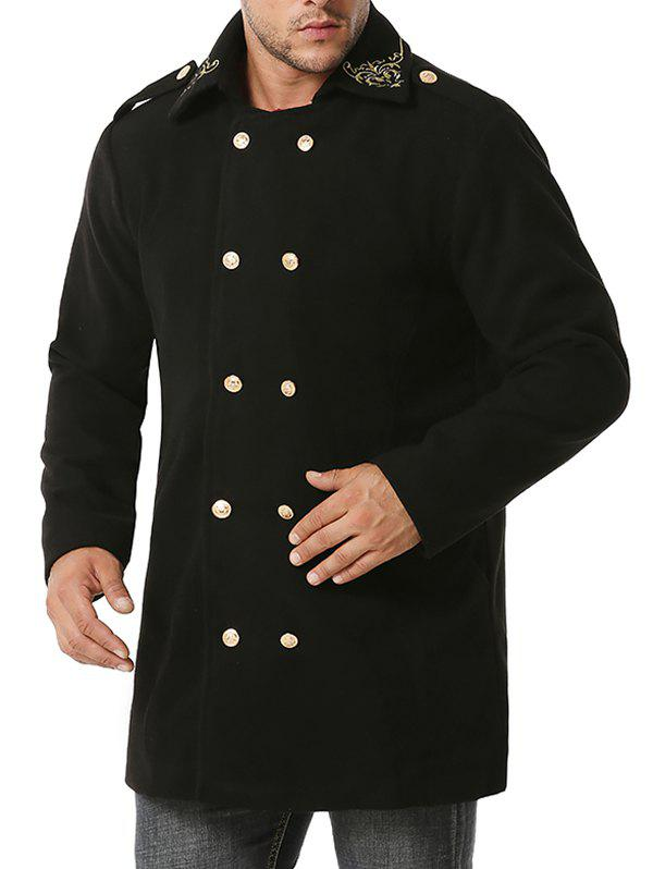 Double Breasted Flower Embroidered Wool Blend Coat - BLACK XXL