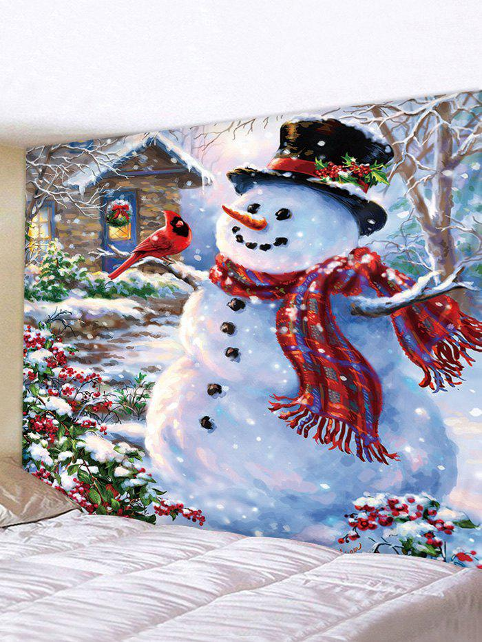 3D Print Snowman With Scarf Waterproof Tapestry - multicolor W91 X L71 INCH