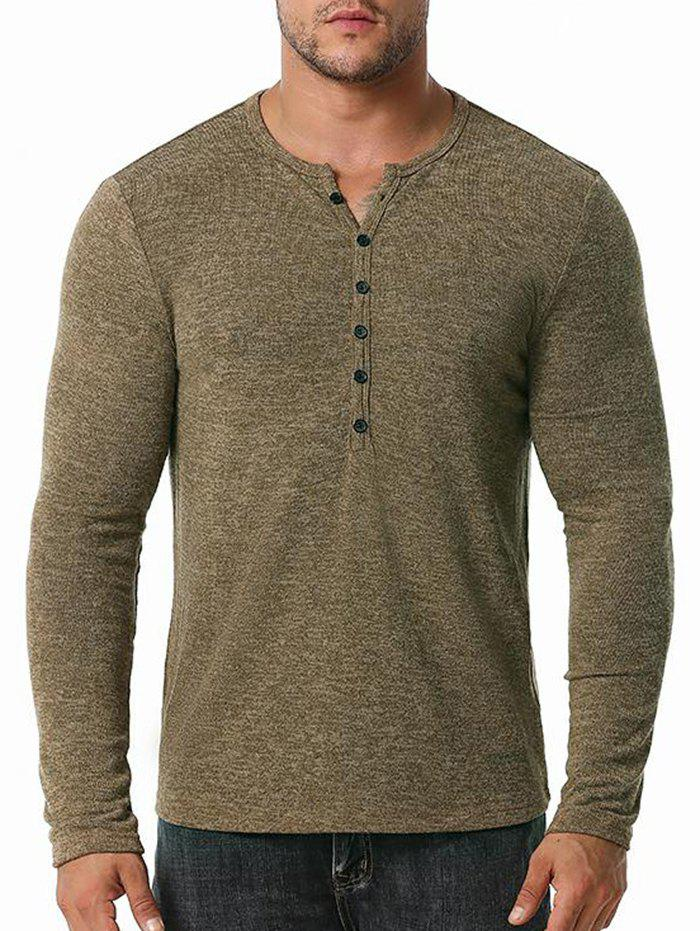 Button Close-fitting Base Round Collar T-shirt - COFFEE S