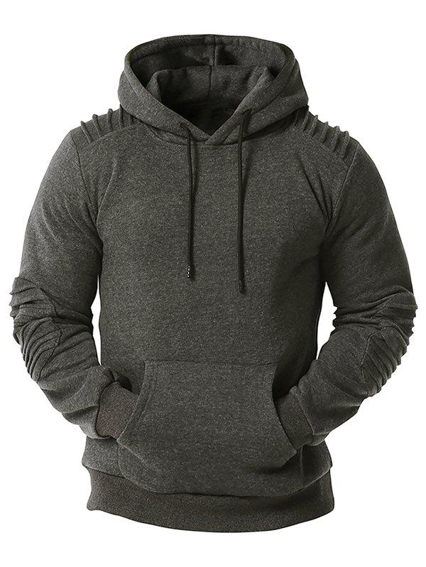 Kangaroo Pocket Pintuck Detail Fleece Hoodie - DARK GRAY L