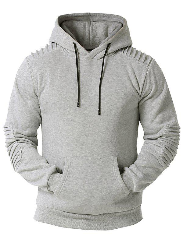Kangaroo Pocket Pintuck Detail Fleece Hoodie - LIGHT GRAY XXXL