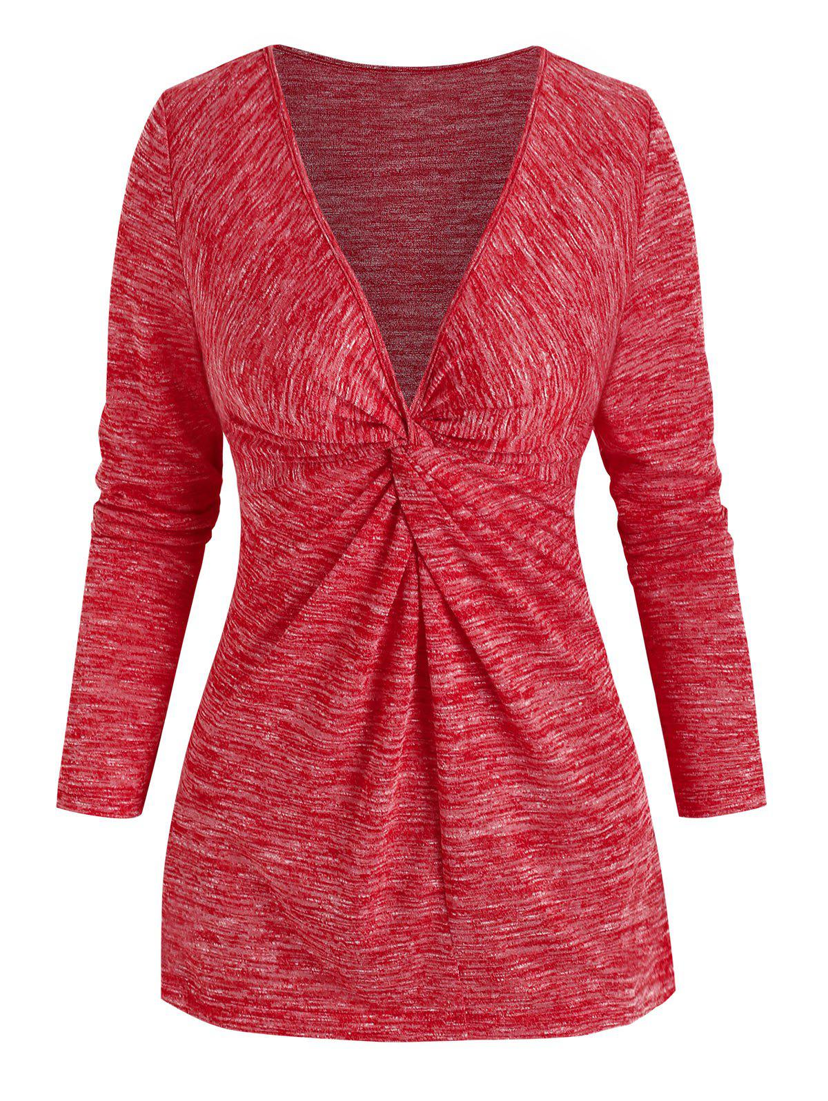 Marled Front Knot Plunging Collar T Shirt - RED XL