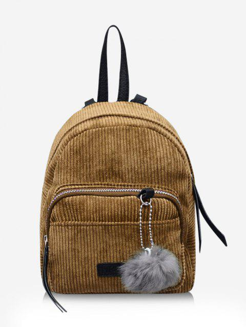Pom Pom Pendant Corduroy Backpack
