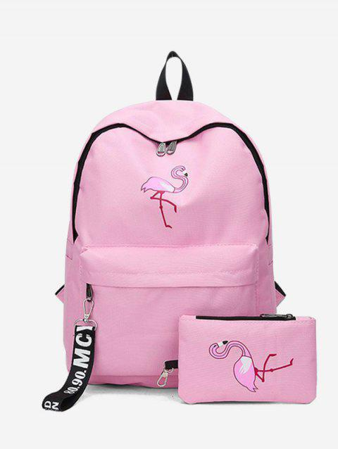 2Pcs Flamingo Print Canvas Pen Bag Pendant Backpack Set