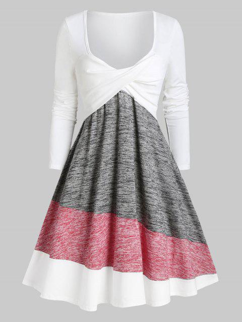 Twisted Colorblock Plunging Tee Dress