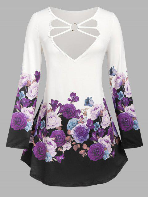 Plus Size O Ring Strappy Floral Print T Shirt