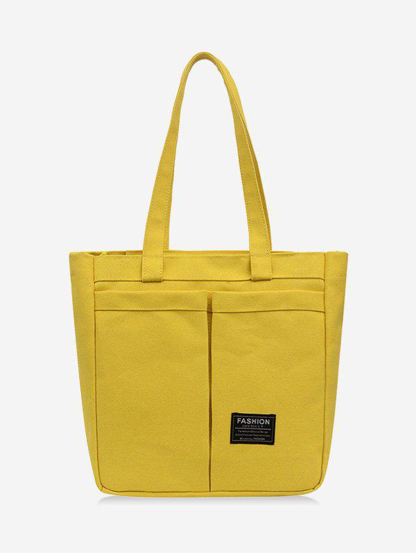 Letter Label Canvas Pockets Tote Bag - SUN YELLOW