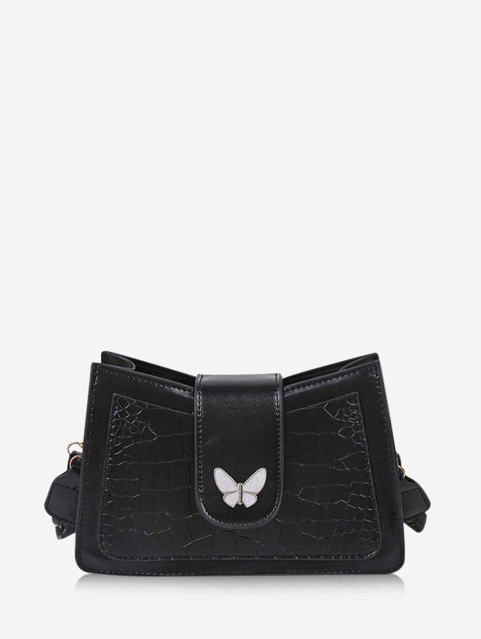 Solid Textured Butterfly Pattern Crossbody Bag - BLACK