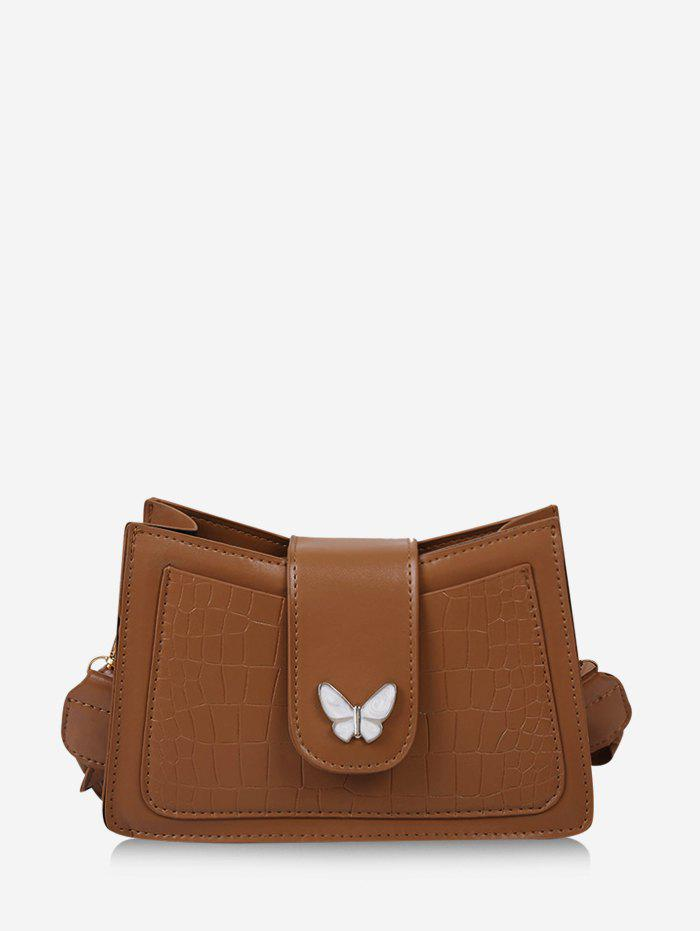 Solid Textured Butterfly Pattern Crossbody Bag - LIGHT BROWN