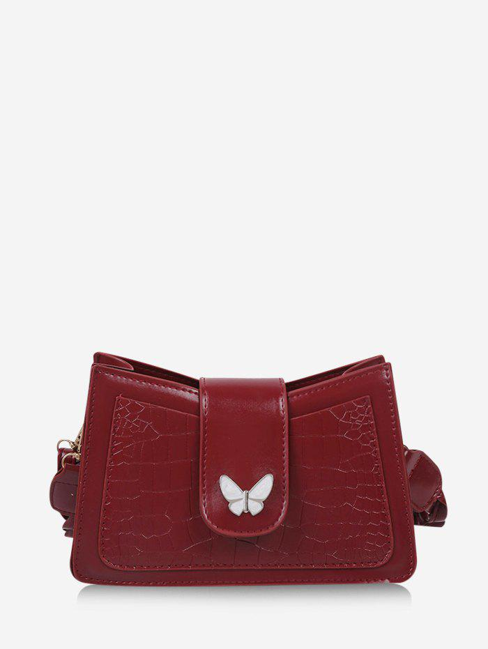 Solid Textured Butterfly Pattern Crossbody Bag - RED WINE