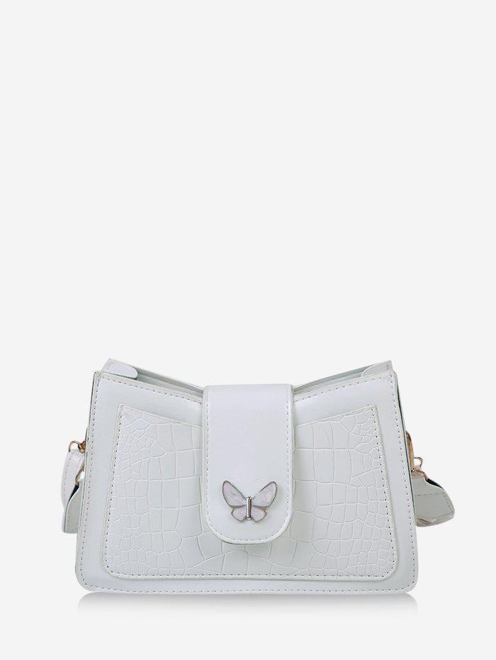 Solid Textured Butterfly Pattern Crossbody Bag - MILK WHITE