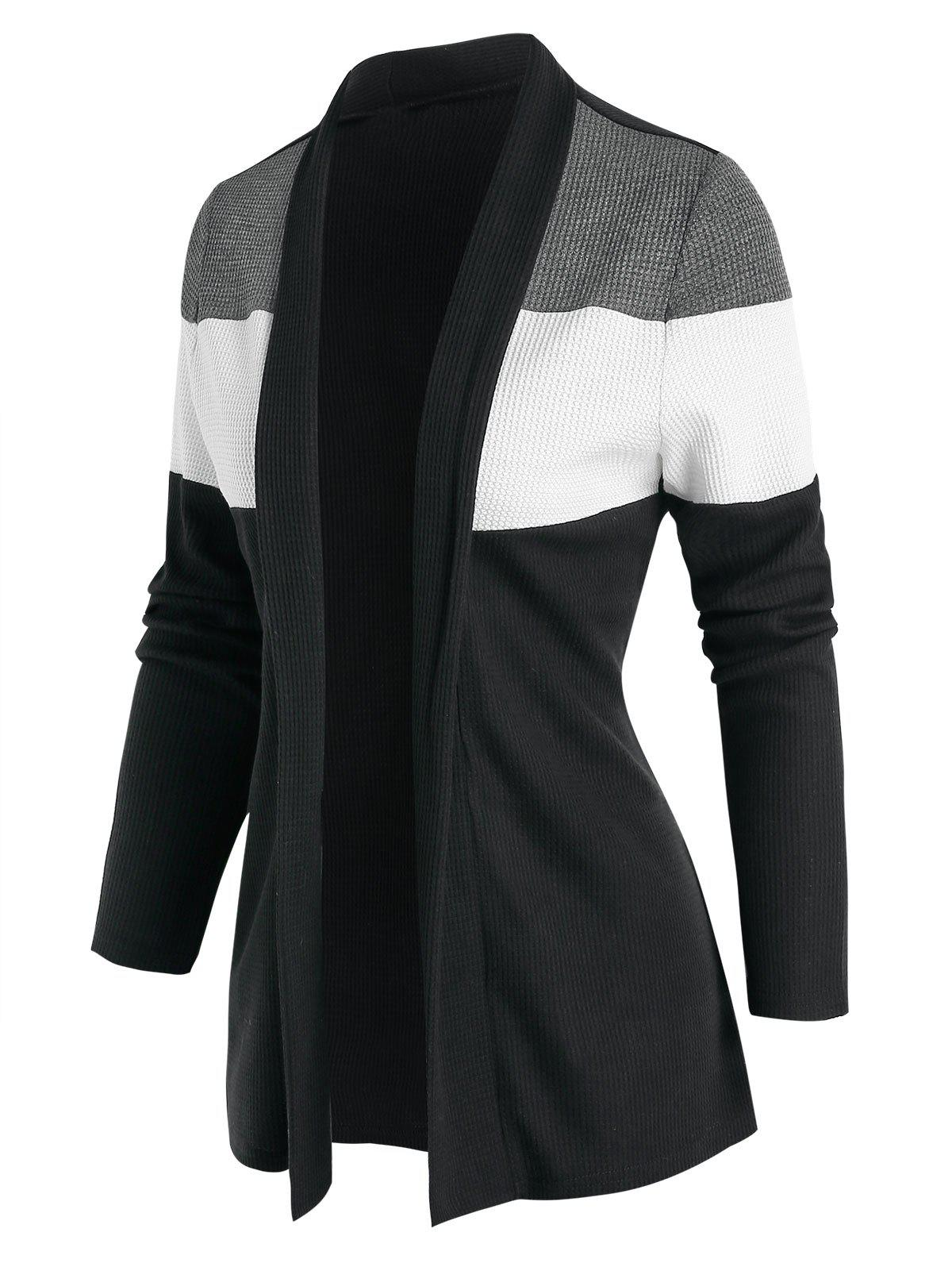 Contrast Open Front Cardigan - BLACK 3XL