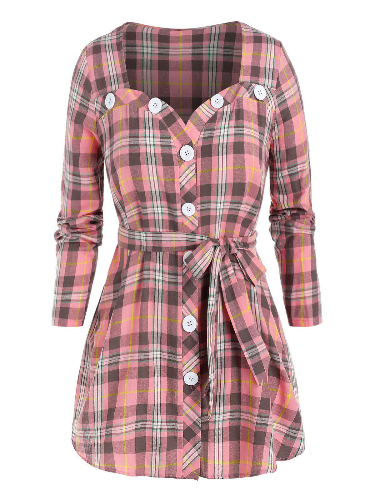 Plus Size Plaid Button Front Belted Blouse - PINK 3X
