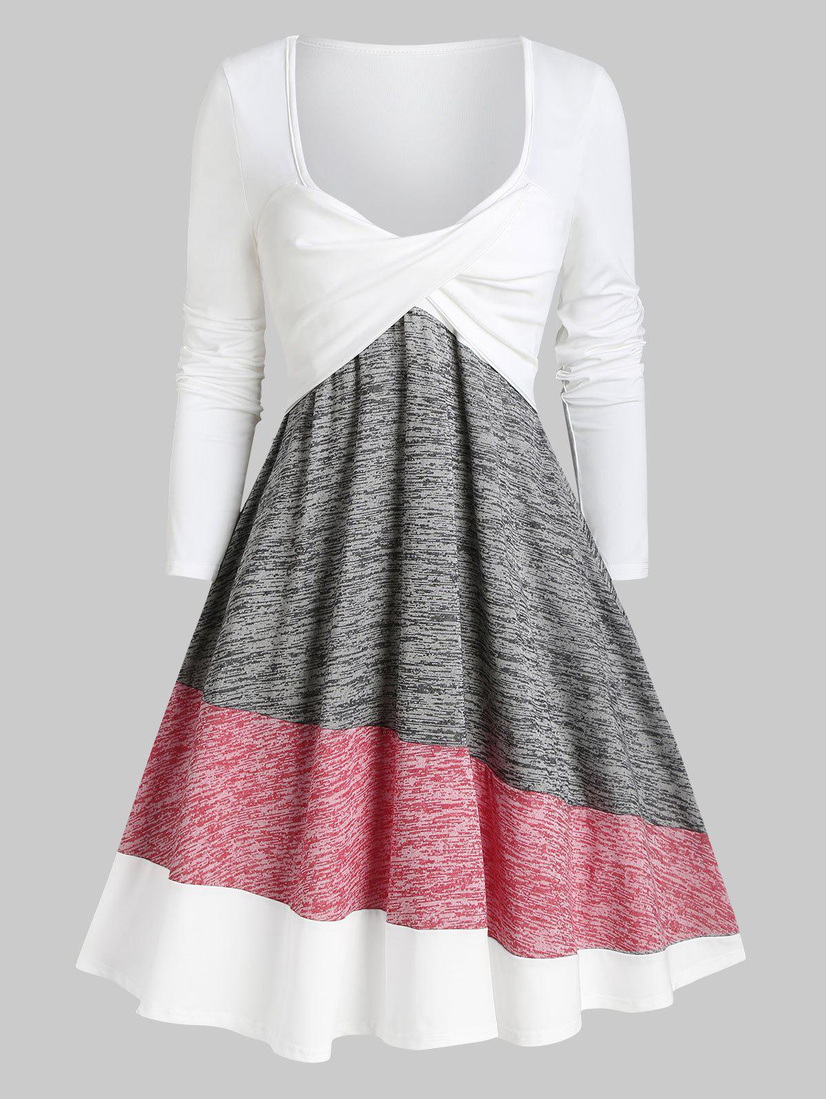 Twisted Colorblock Plunging Tee Dress - multicolor XXL