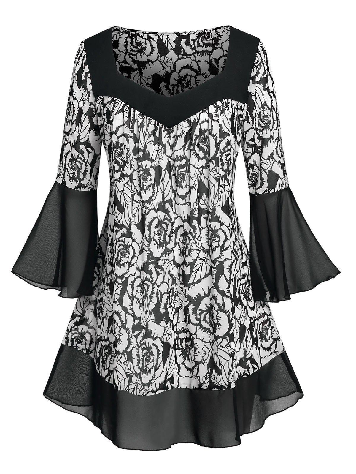 Plus Size Flower Print Bell Sleeve Flounce Tunic Blouse - BLACK 5X